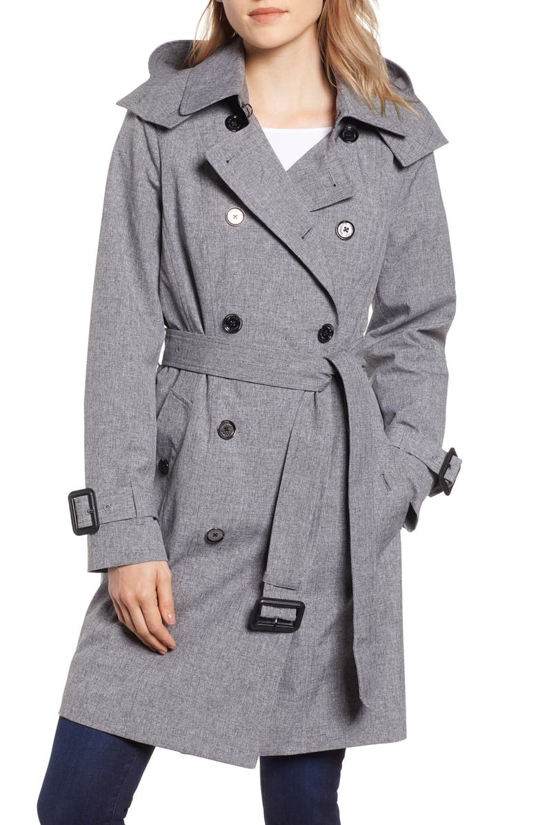 LONDON FOG Double Breasted Trench Coat, Main, color, CHARCOAL