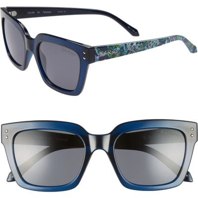 Lilly Pulitzer Celine 5m Polarized Square Sunglasses - Navy Crystal/ Solid Smoke