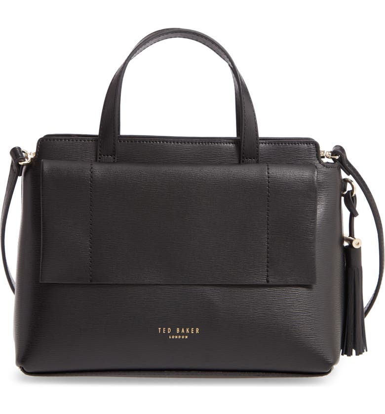 TED BAKER LONDON Tassel Leather Top Handle Bag, Main, color, BLACK