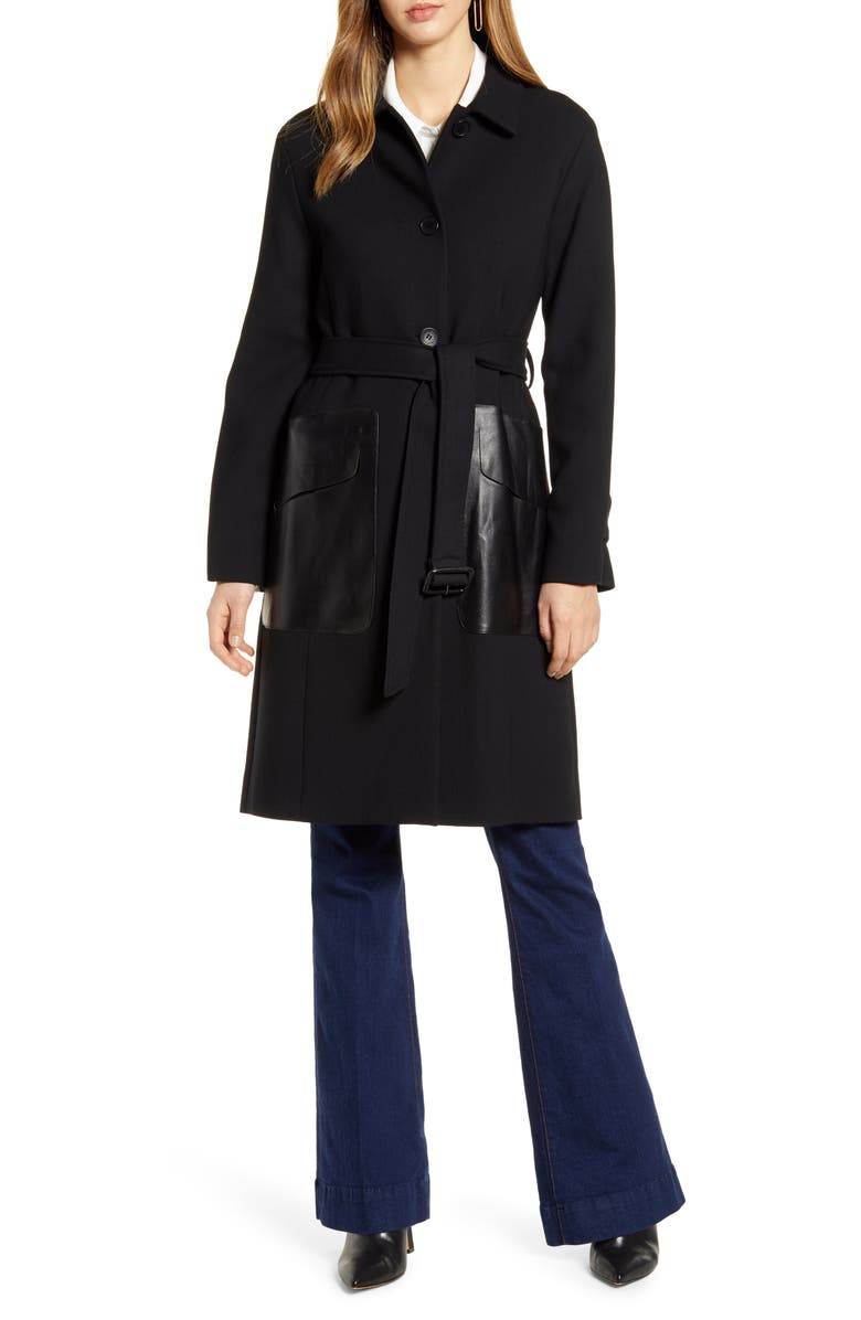 COLE HAAN SIGNATURE Wool Blend & Leather Coat, Main, color, BLACK
