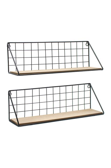 Image of Sorbus Black Floating Shelf - Set of 2