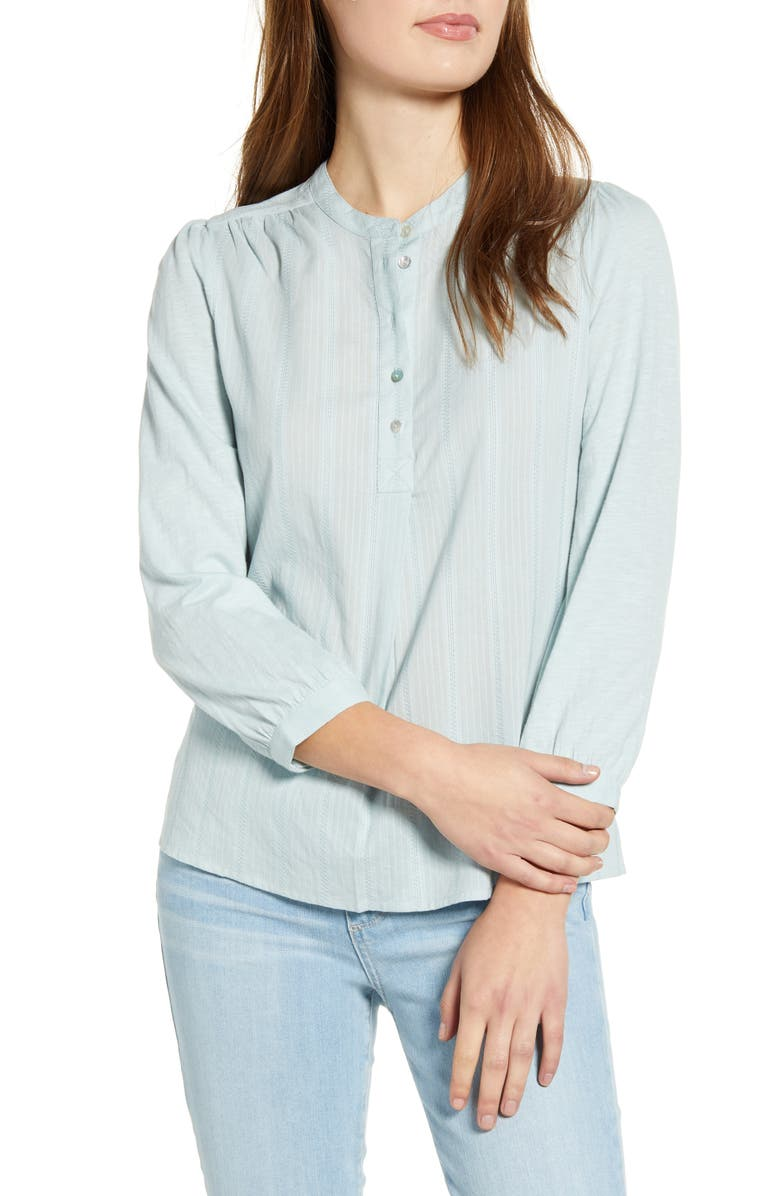 LUCKY BRAND Mixed Weave Button Front Top, Main, color, STERLING BLUE