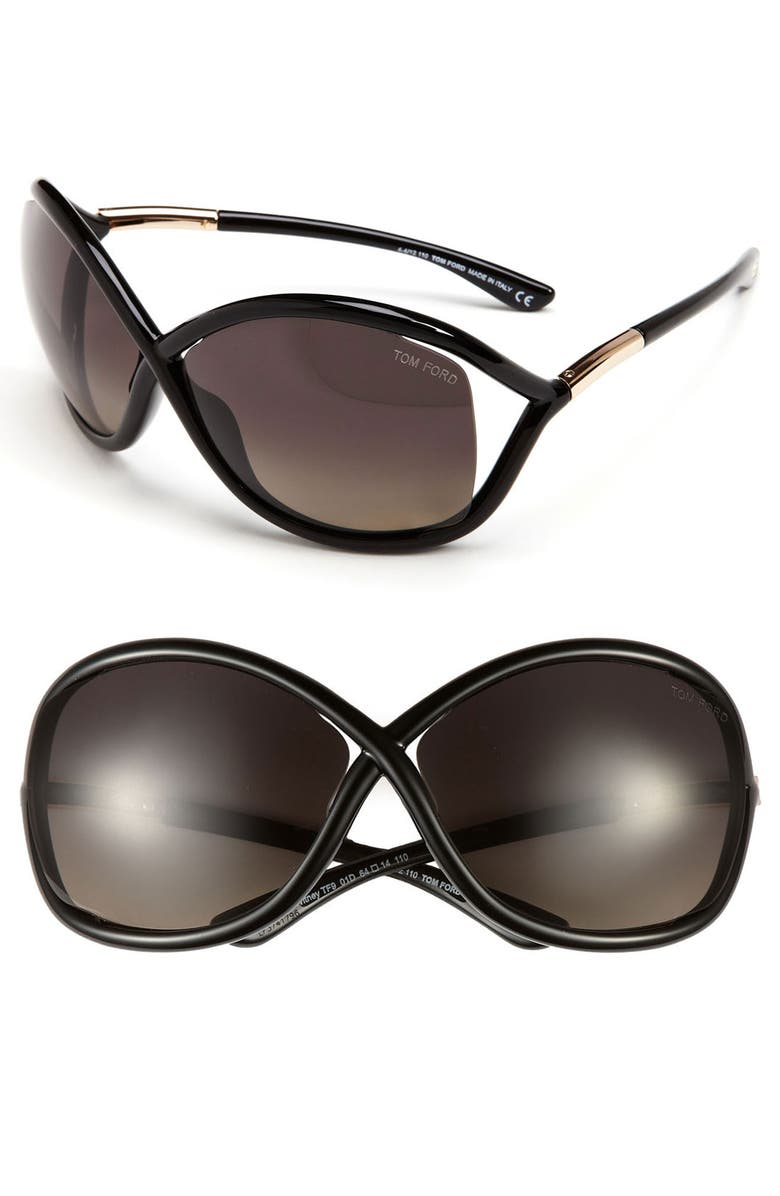 TOM FORD 'Whitney' 64mm Polarized Sunglasses, Main, color, 001