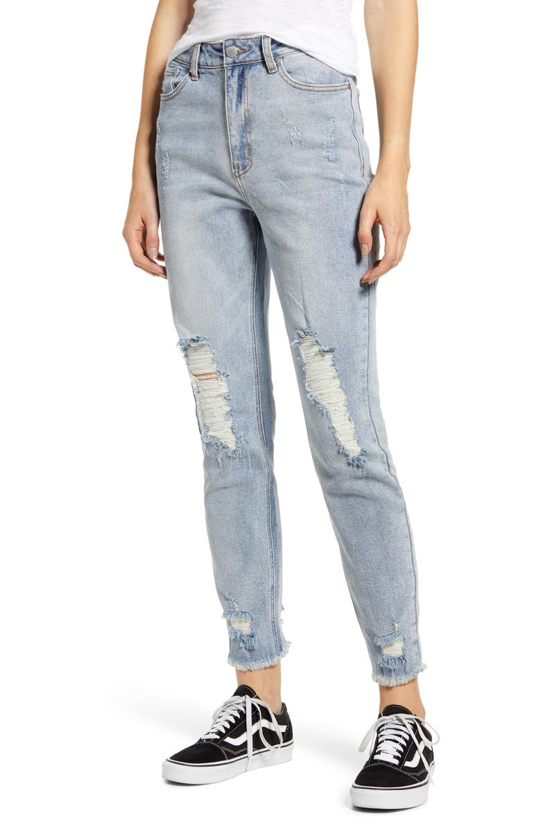 TINSEL Ripped High Waist Mom Jeans, Main, color, VINTAGE WASH