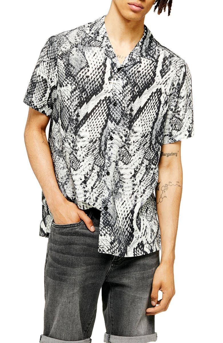 TOPMAN Animal Print Regular Fit Button-Up Shirt, Main, color, BLACK MULTI