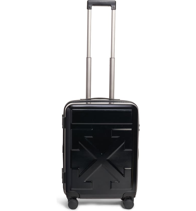 OFF-WHITE Arrow 21-Inch Hard Side Trolley Wheeled Suitcase, Main, color, BLACK