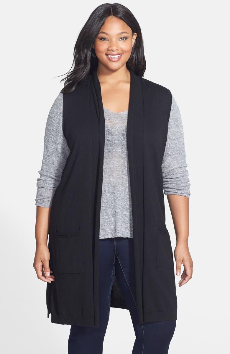 SEJOUR Shawl Collar Long Vest, Main, color, 001