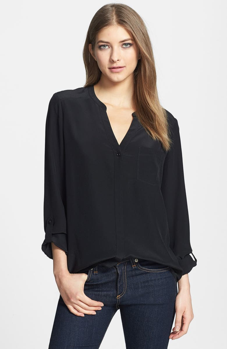 TROUVÉ Collarless Silk Blouse, Main, color, 001