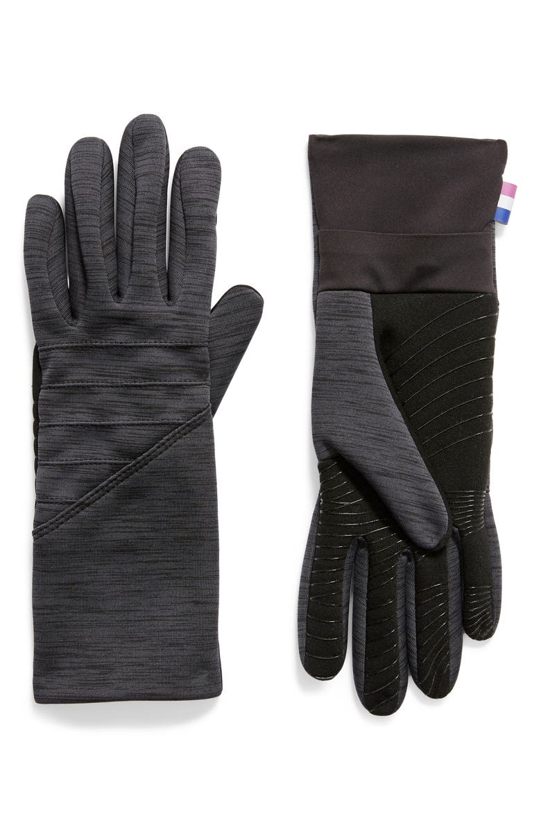 U|R Active Stretch Moto Tech Gloves, Main, color, BLACK HEATHER