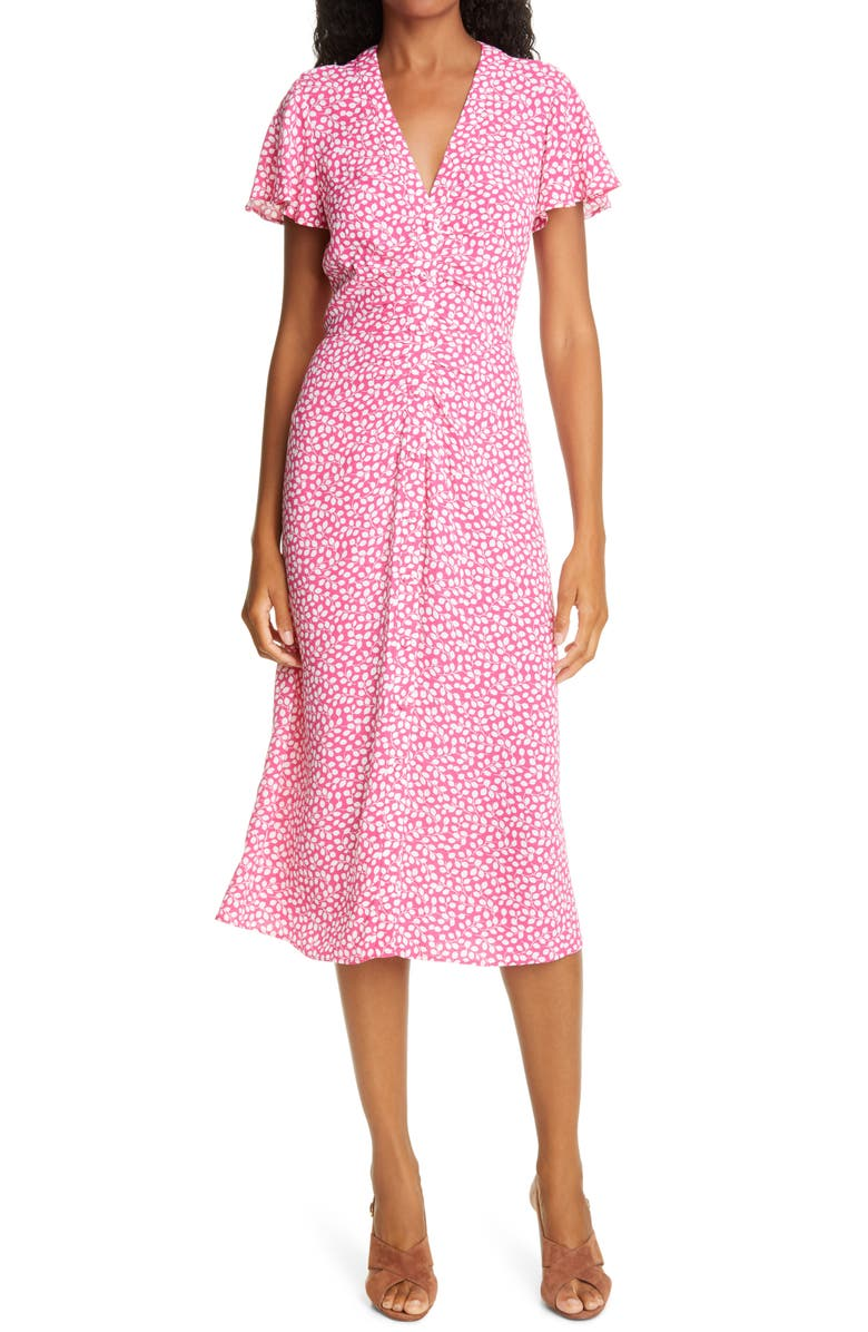 DIANE VON FURSTENBERG Cecilia Ruched Midi Dress, Main, color, 800