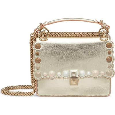 Fendi Small Kan I Metallic Leather Shoulder Bag - Metallic