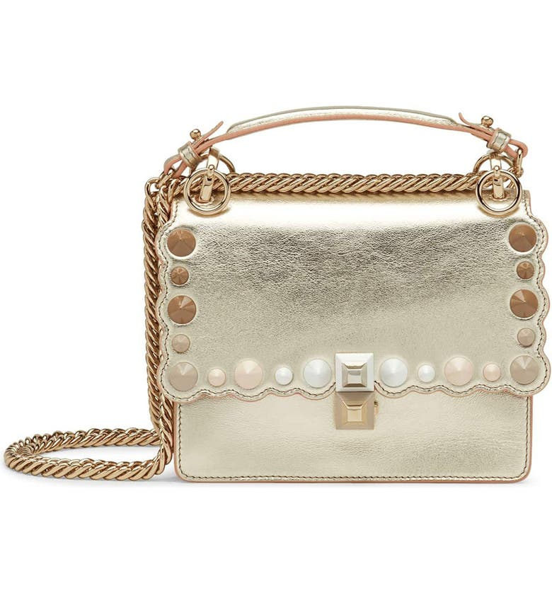 FENDI Small Kan I Metallic Leather Shoulder Bag, Main, color, CHAMPAGNE/ ORO