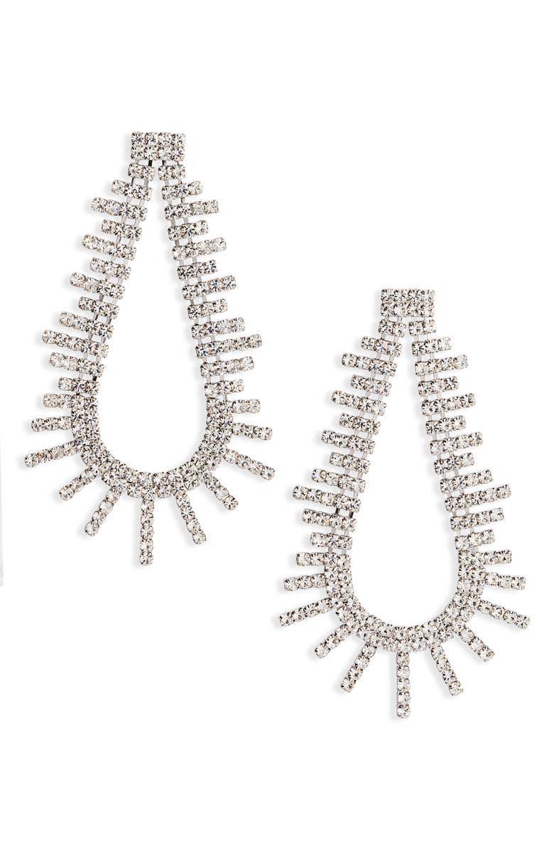 CRISTABELLE Crystal Open Teardrop Earrings, Main, color, CRYSTAL/ SILVER