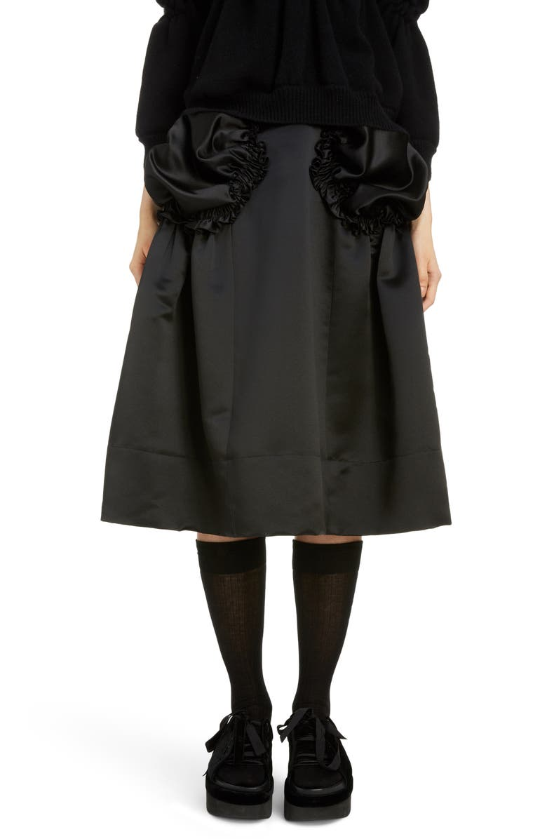 SIMONE ROCHA Gathered Pocket Belted Satin Skirt, Main, color, BLACK