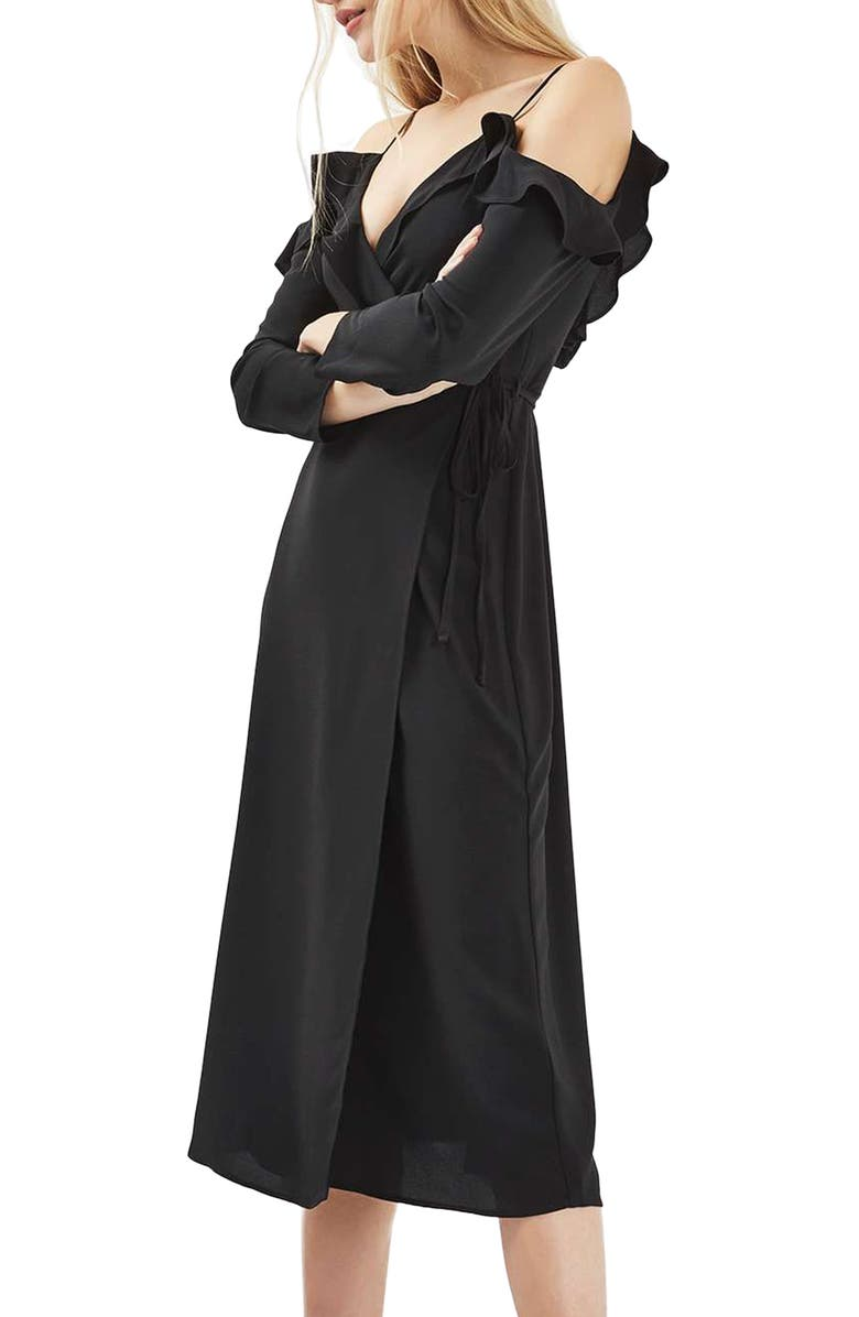 TOPSHOP Ruffle Cold Shoulder Wrap Dress, Main, color, 001