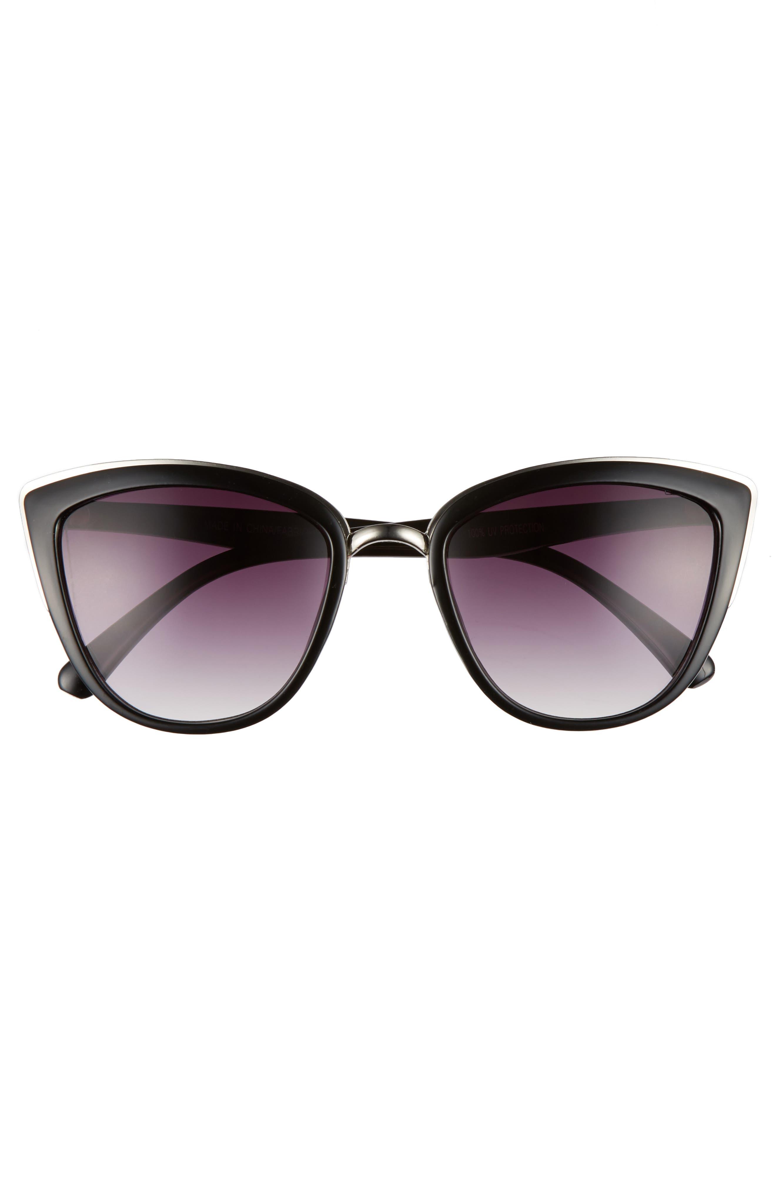 ,                             55mm Metal Rim Cat Eye Sunglasses,                             Alternate thumbnail 3, color,                             001