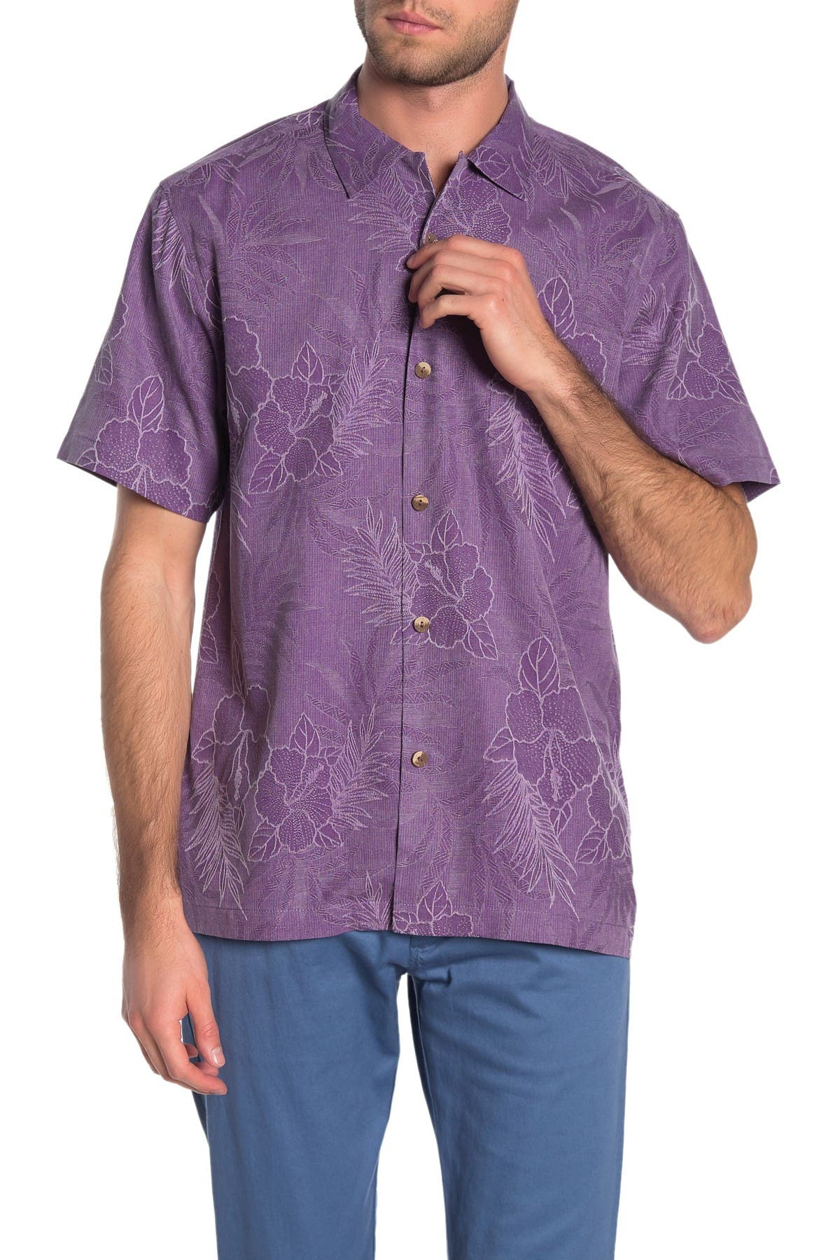 Image of Tommy Bahama Oceanside Tropics Short Sleeve Regular Fit Silk Hawaiian Shirt