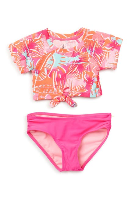 Image of Kensie Girl Tropical Short Sleeve Rashgard Set