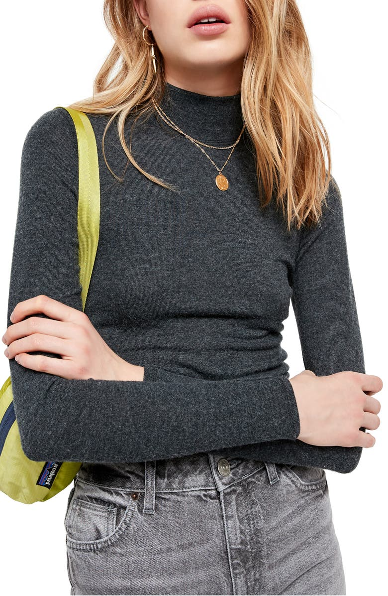 BDG URBAN OUTFITTERS Mock Neck Sweater, Main, color, DARK SHADOW