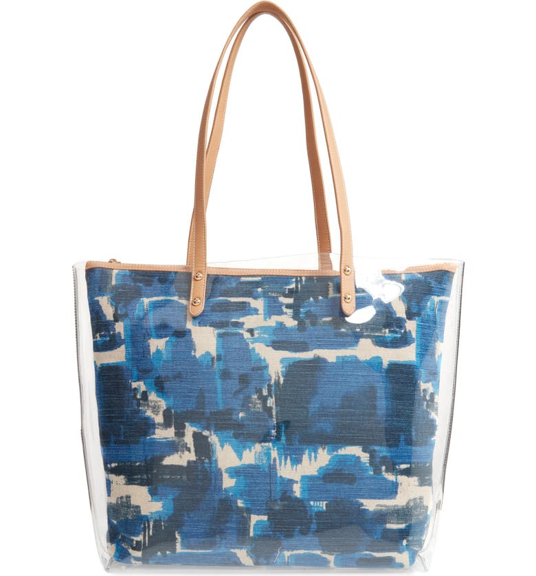 SONDRA ROBERTS Clear Tote with Graphic Canvas Insert, Main, color, BLUE