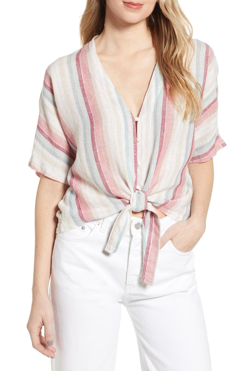 RAILS Thea Tie Hem Shirt, Main, color, TROPIC STRIPE