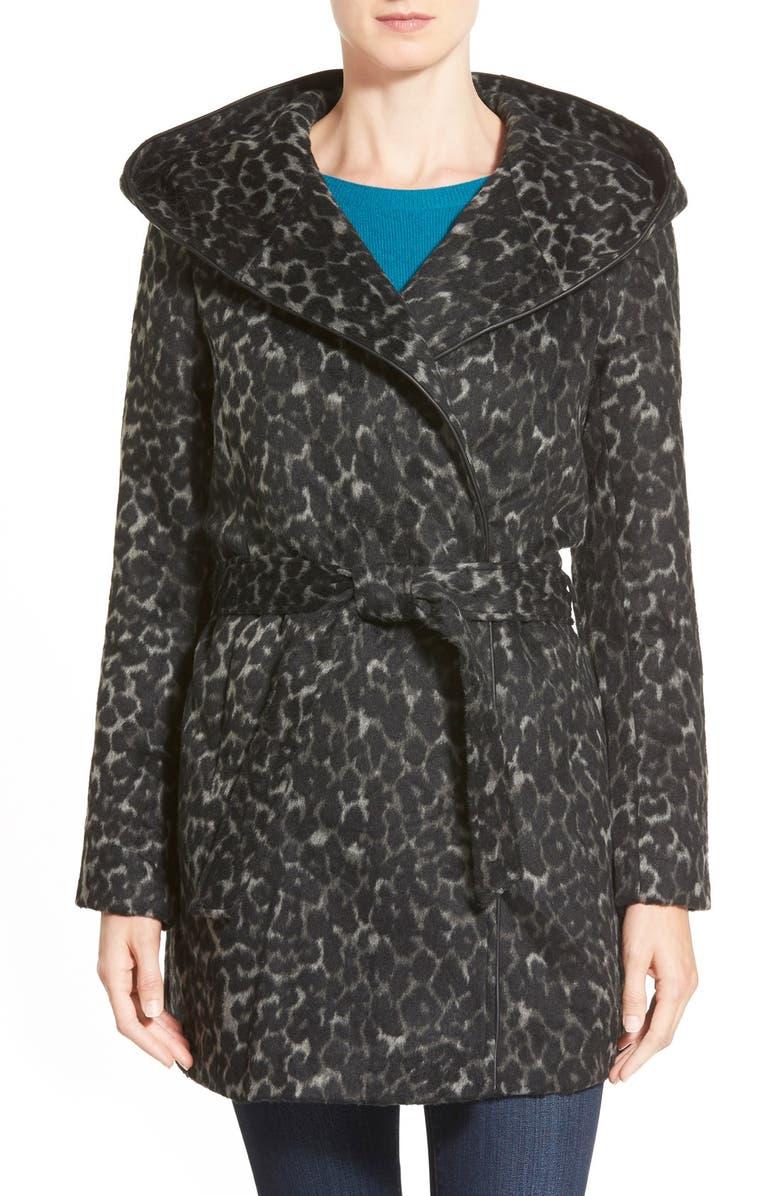 STEVE MADDEN Hooded Wrap Coat, Main, color, 020