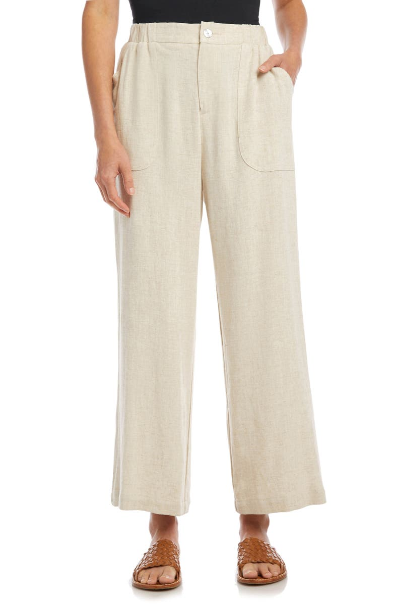 KAREN KANE Crop Wide Leg Trousers, Main, color, NATURAL