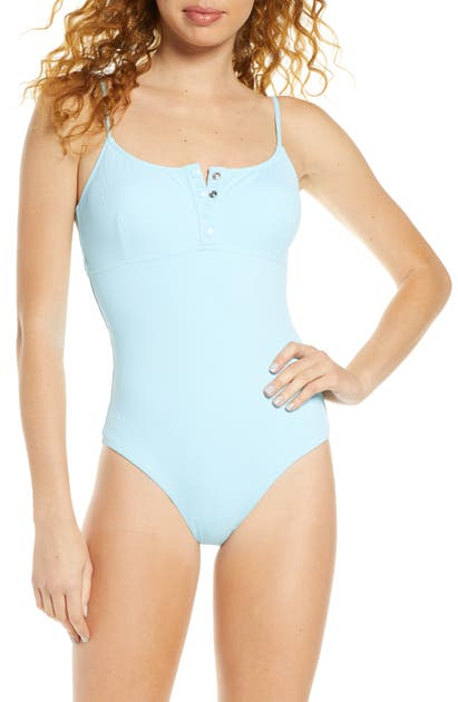 Melissa Odabash Calabasas Ribbed One-piece Swimsuit In Celeste Ribbed