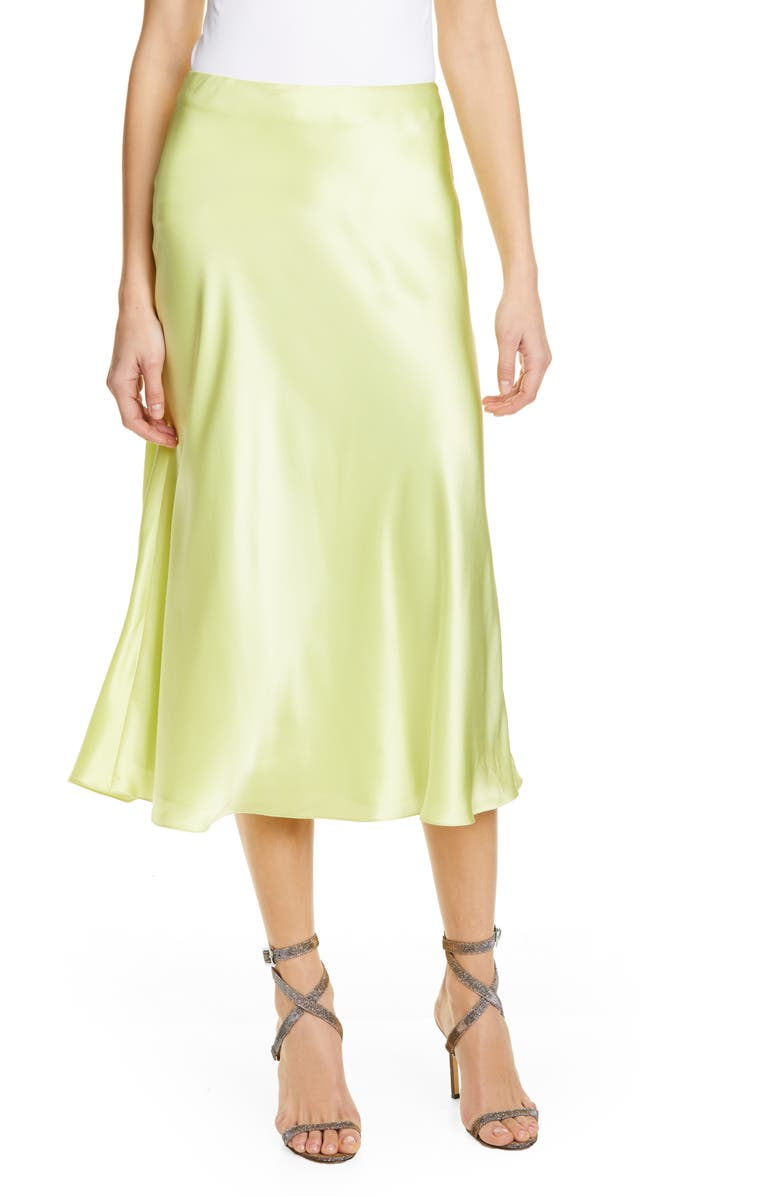 CINQ À SEPT Marta Silk Satin Midi Skirt, Main, color, 300