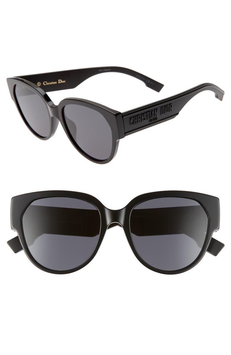 DIOR ID2S 55mm Cat Eye Sunglasses, Main, color, BLACK/ GREY
