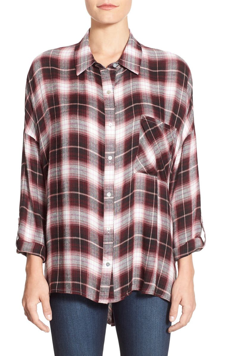 BOBEAU Split Back High/Low Plaid Shirt, Main, color, 001