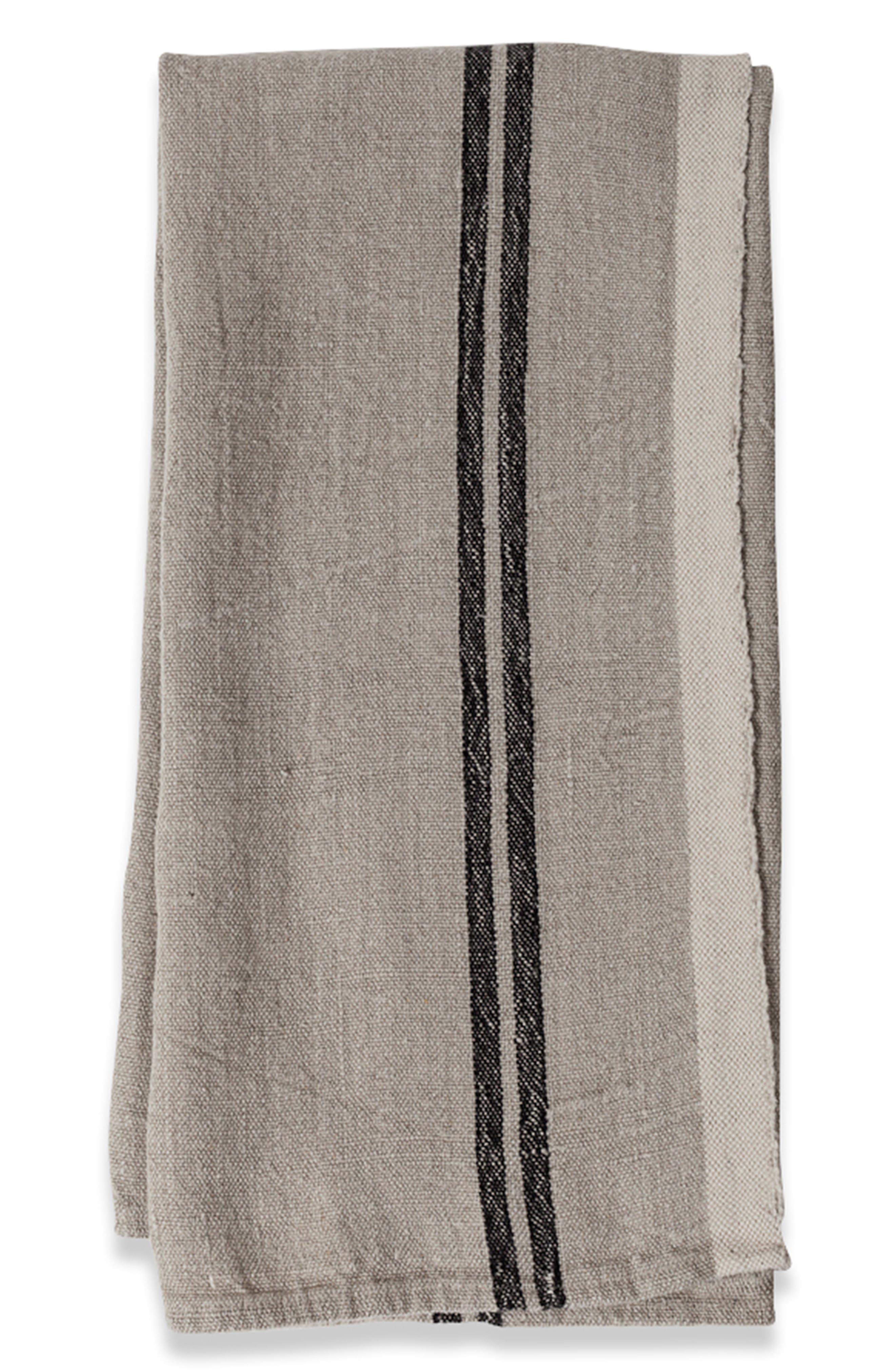 Caravan Set Of 2 Vintage Linen Tea Towels Size One Size  Black