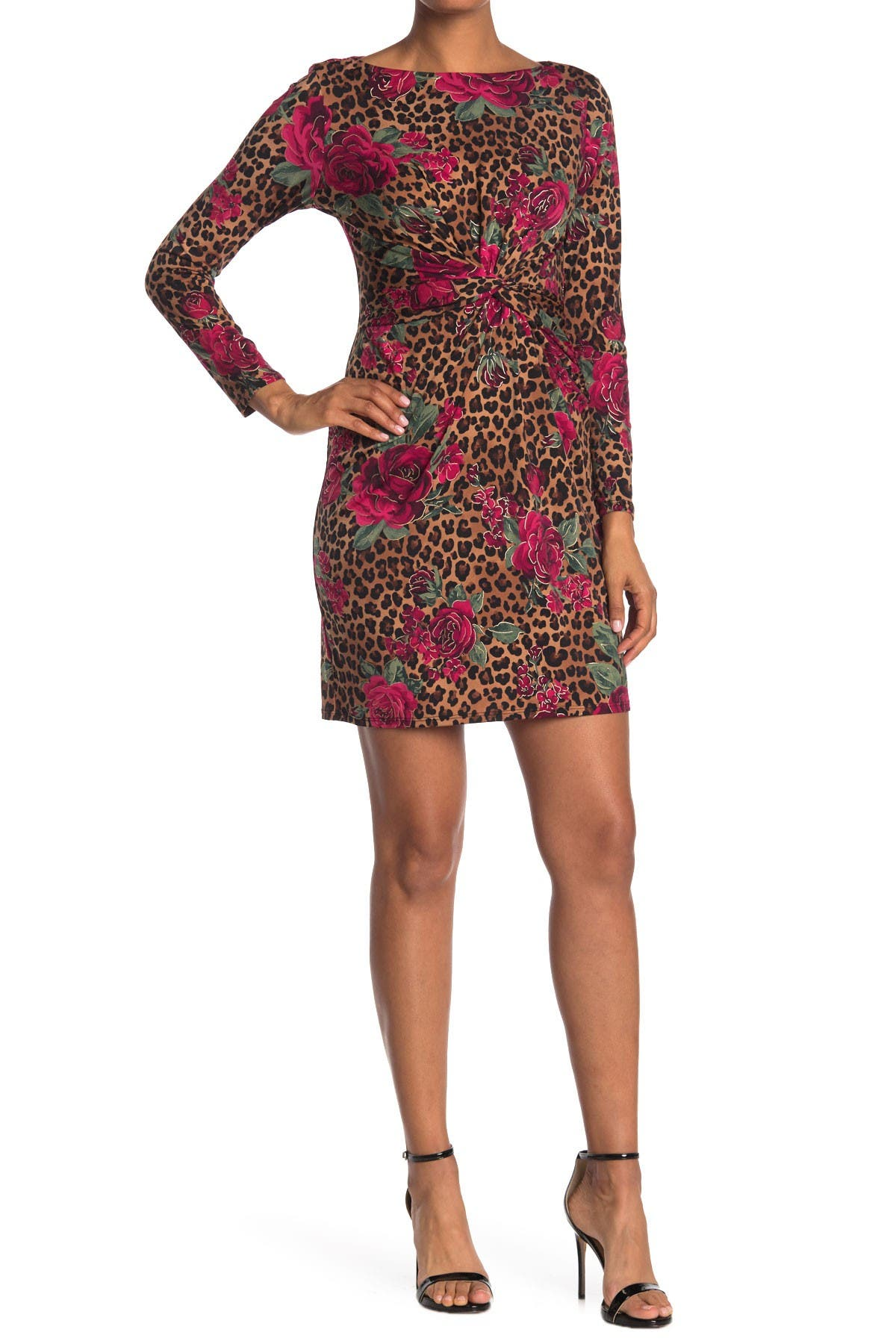 Image of TASH + SOPHIE Leopard Floral Front Twist Dress