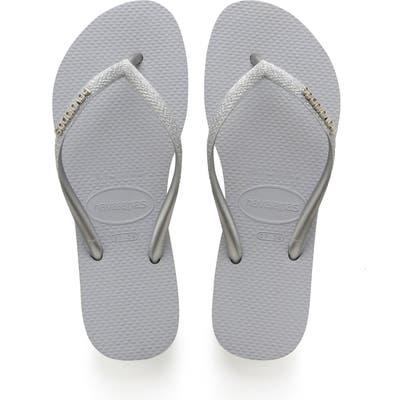 Havaianas Slim Glitter Flip Flop, /36 BR - Grey