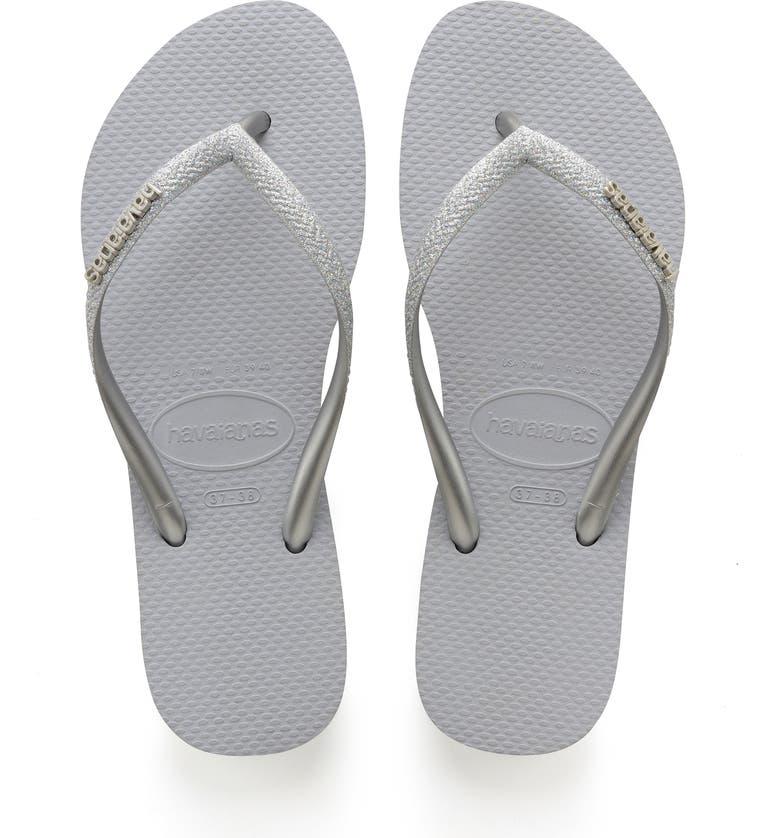 HAVAIANAS Slim Glitter Flip Flop, Main, color, ICE GREY