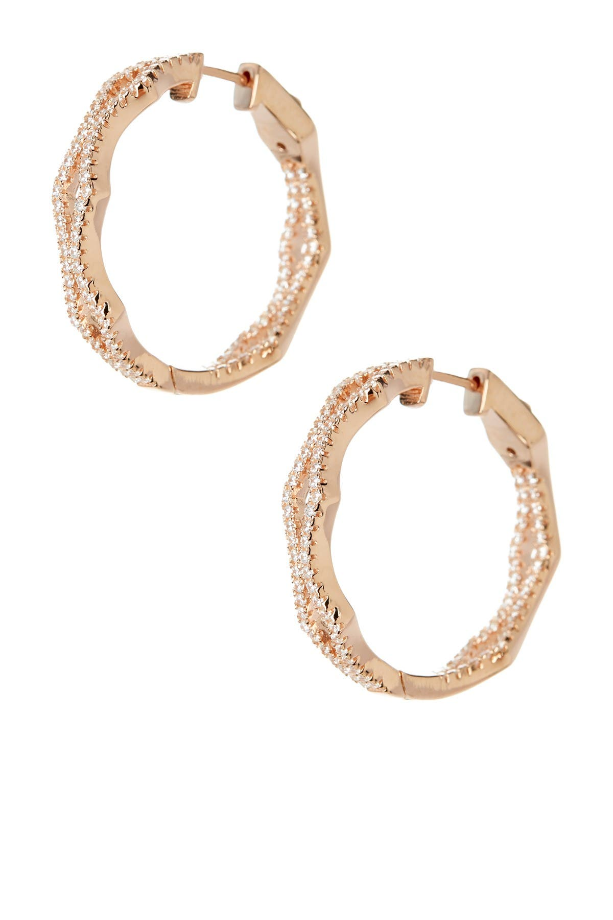 Image of Suzy Levian 14K Rose Gold Plated Sterling Silver Pave CZ 29mm Hoop Earrings