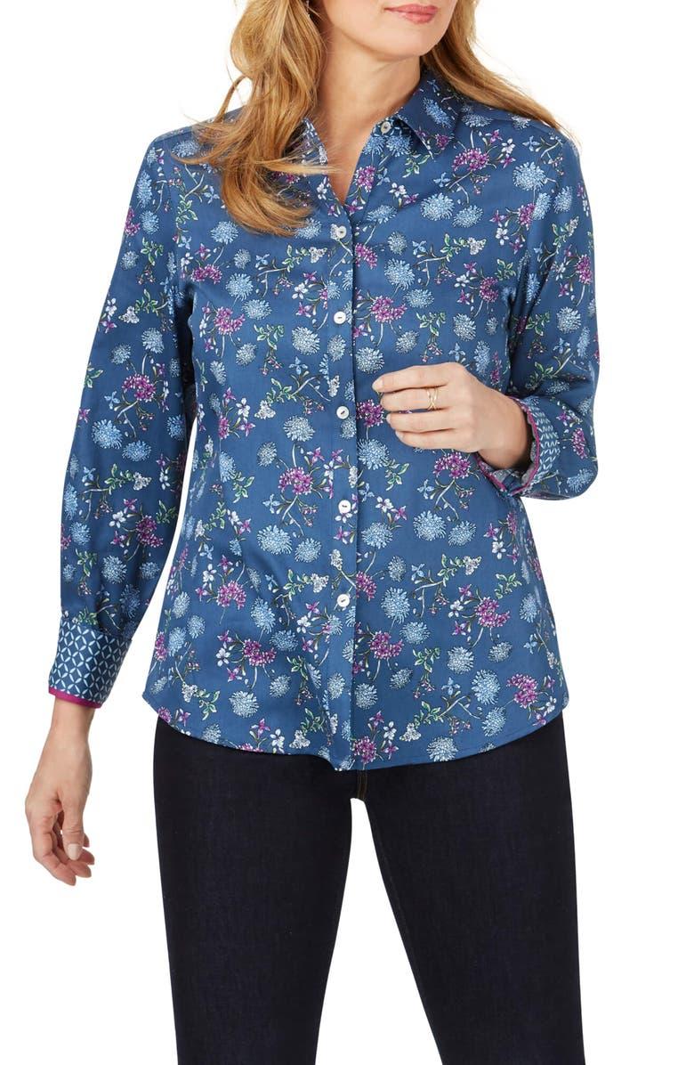 FOXCROFT Ava Floral Print Chambray Shirt, Main, color, BLUE JEAN
