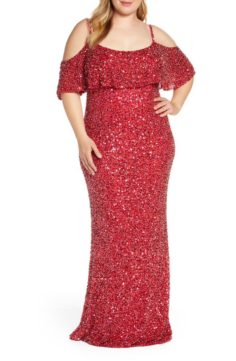 Mac Duggal Sequin Cold Shoulder Popover Evening Gown (Plus ...