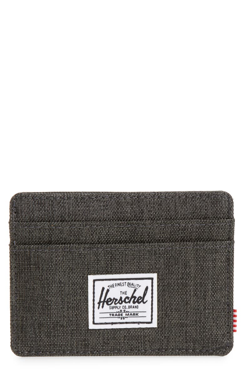 HERSCHEL SUPPLY CO. Charlie RFID Card Case, Main, color, BLACK CROSSHATCH