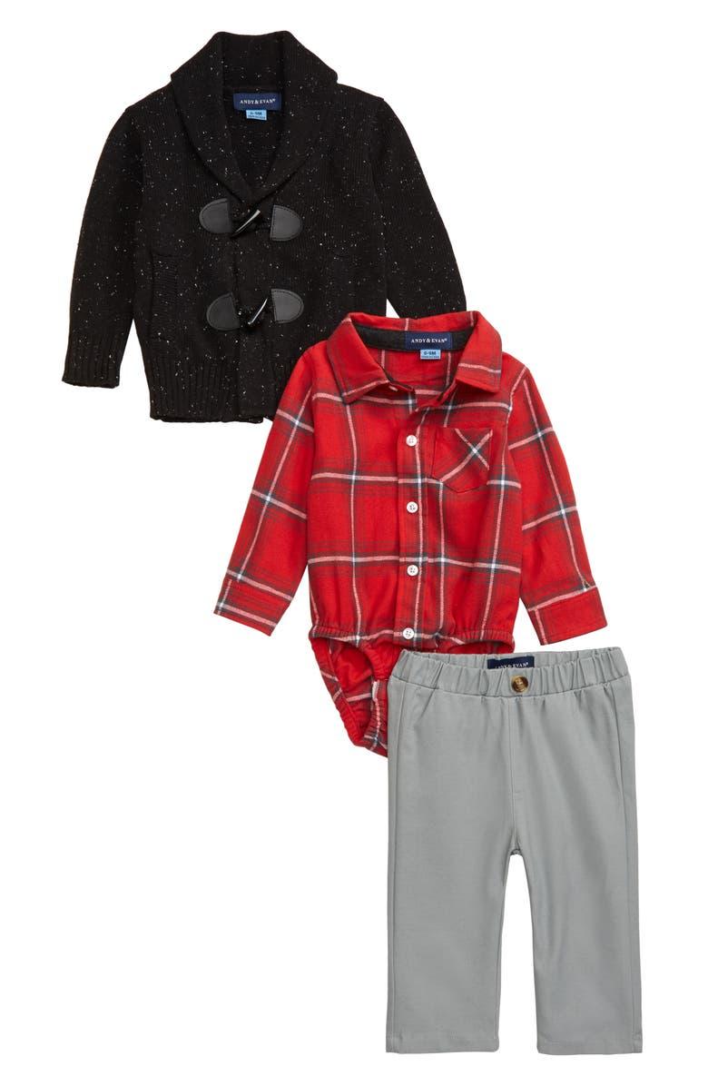 ANDY & EVAN Toggle Knit Cardigan, Plaid Bodysuit & Pants Set, Main, color, OXFORD