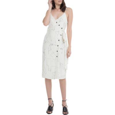 Astr The Label Lois Front Button Side Tie Dress, White