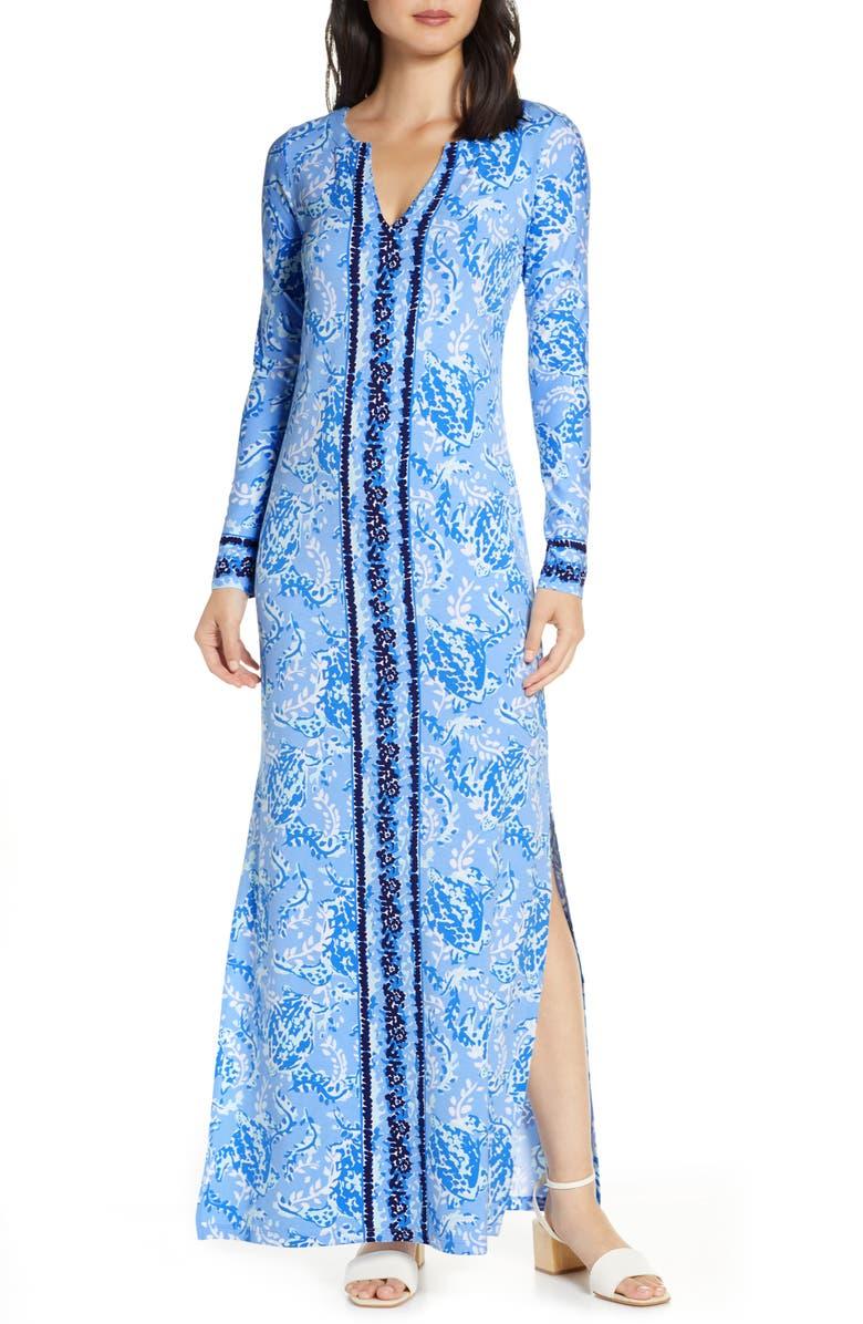 LILLY PULITZER<SUP>®</SUP> Faye Long Sleeve UPF 50+ Maxi Dress, Main, color, BLUE PERI TURTLEY AWE