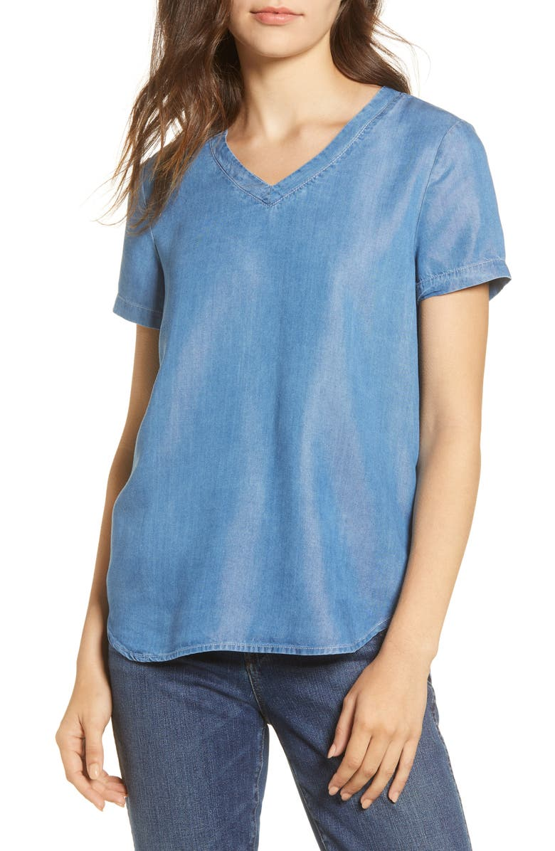BEACHLUNCHLOUNGE Becca Short Sleeve Lyocell Top, Main, color, MEDIUM BLUE