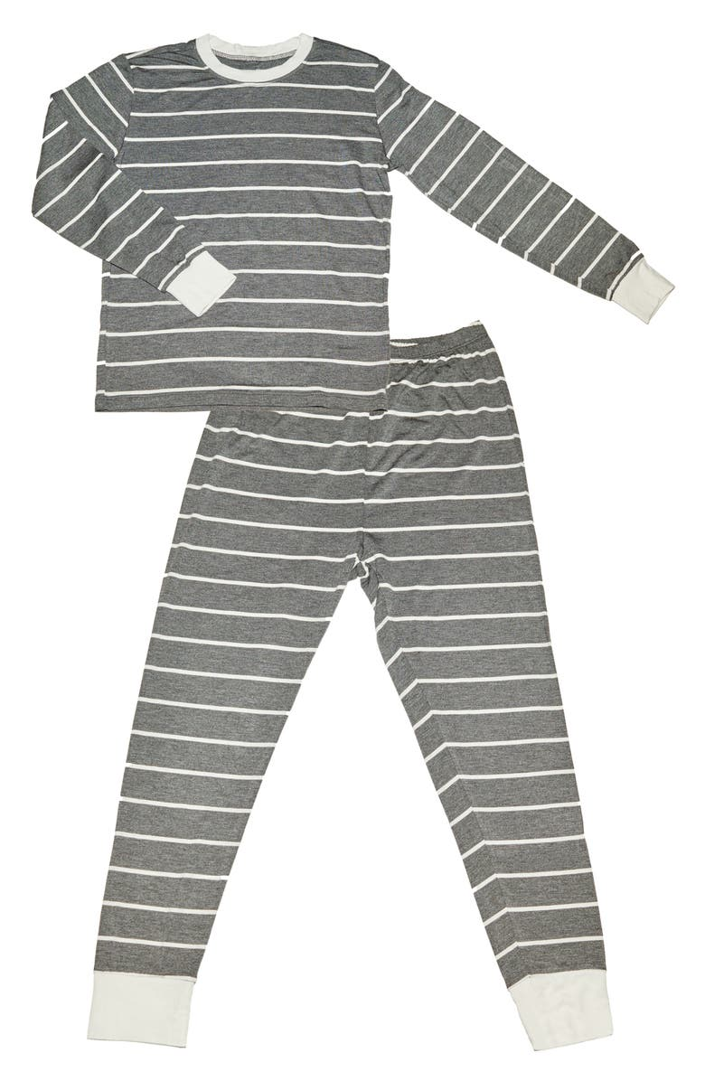 EVERLY BY BABY GREY Baby Grey Fitted Two-Piece Pajamas, Main, color, CHARCOAL