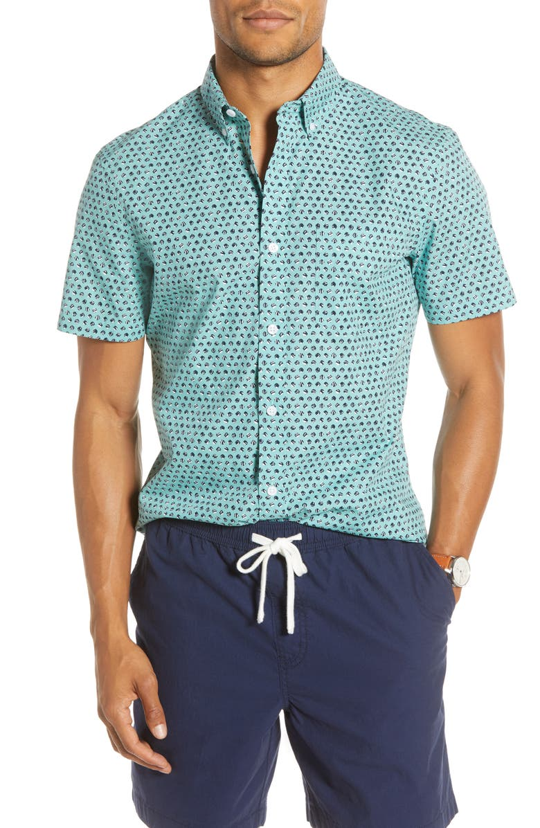 1901 Trim Fit Short Sleeve Button-Down Shirt, Main, color, TEAL NAVY SCRATCH DOT