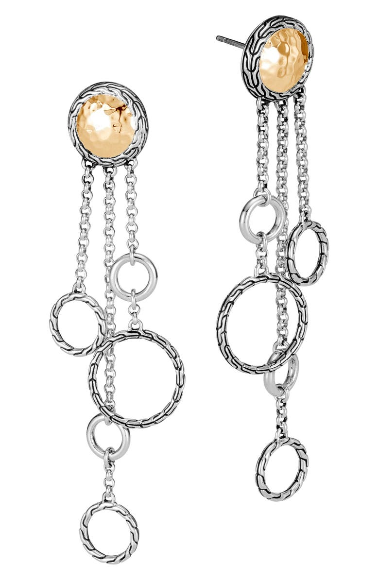 JOHN HARDY Classic Chain Hammered Chandelier Earrings, Main, color, GOLD/ SILVER