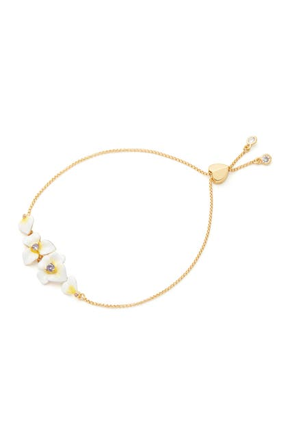 Image of kate spade new york enamel flower crystal sliding knot bracelet