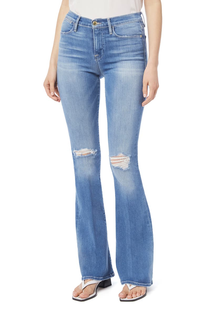 FRAME Le High Waist Flare Leg Jeans, Main, color, MANZANITA RIPS