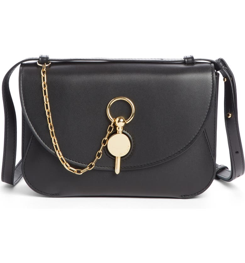 JW ANDERSON Lock Leather Convertible Shoulder Bag, Main, color, 001