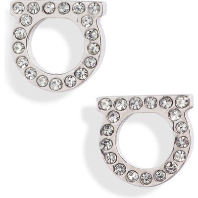 Salvatore Ferragamo Pave Gancio Stud Earrings